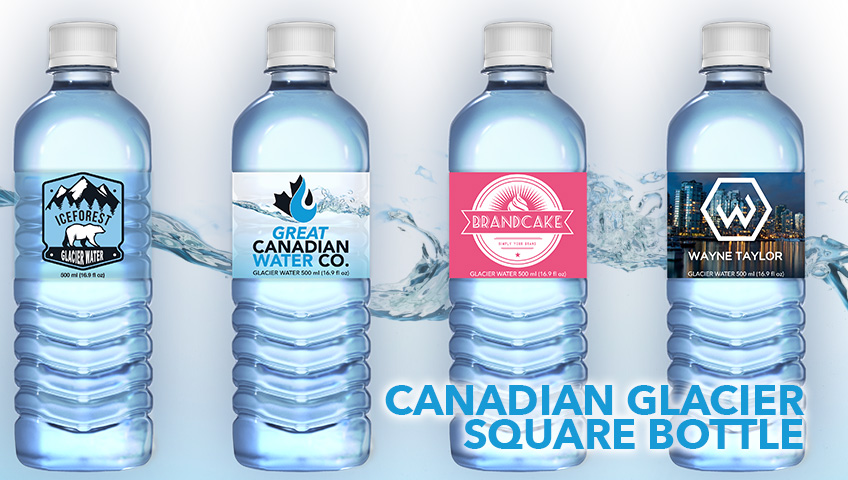 Smooth bullet bottle designs for custom labeled bottled water in BC